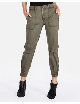 High Waisted Straight Cropped Cinched Hem Pant by Express
