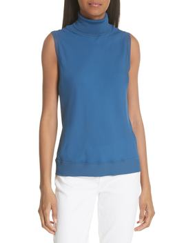Sleeveless Turtleneck Silk Shell by Theory