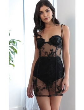 Ever Lace Corset Dress In Black by Lucy In The Sky