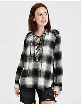 Ae Plaid Lace Up Pullover Top by American Eagle Outfitters