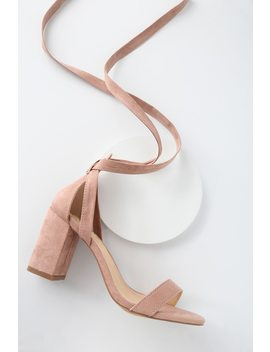 Airis Mauve Suede Lace Up Heels by Lulus
