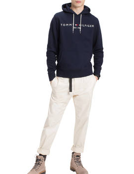 Tommy Hilfiger Logo Long Sleeve Hoodie, Blue by Tommy Hilfiger
