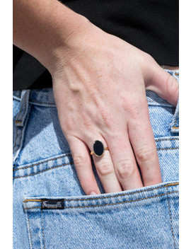 Black And Gold Oval Ring by Brandy Melville