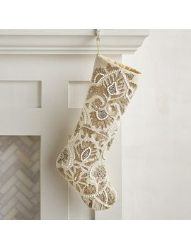 Gold & Silver Beaded Stocking by Pier1 Imports