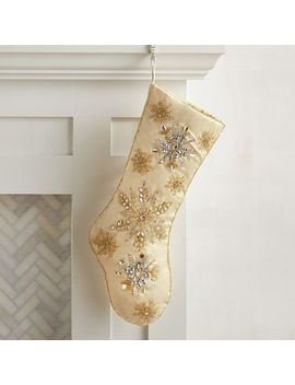 Beaded Snowflake Gold Stocking by Pier1 Imports