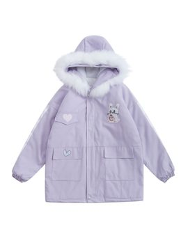 Japanese Sweet Cute Winter Thick Long Coat For Women Hooded Outwear Parkas Coats Bunny Patch Oversized High Quality Fur Collar by Bebobsons