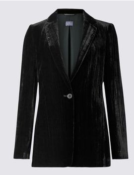 Textured Velvet Blazer by Tracked Express Delivery: