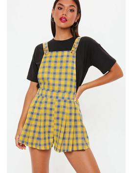 Yellow Check Pinafore Playsuit by Missguided