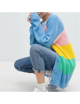 Autumn Women Knitted Cardigan Rainbow Patchwork Sweater Maccaron Color Stripes Loose Harajuku Sweater Women's Sweaters by Lunoakvo