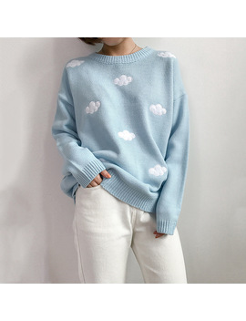 2018 New College Wind Embroidered Sweater Women Harajuku Cotton Fresh Sweet Cloud Sweater Loose Round Neck Long Sleeve Sweater by Scoumako