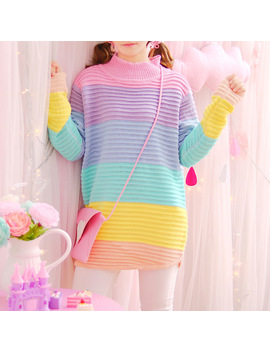 Autumn Winter Japanese Sweet Pullover Turtleneck Rainbow Sweater Maccaron Color Stripes Loose Sweaters Female Kawaii One Size by Sexe Mara