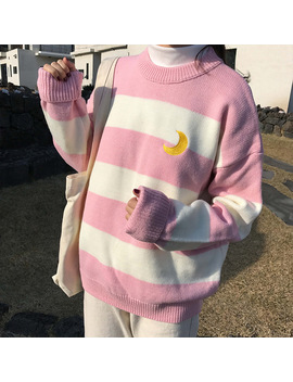Women's Sweaters Kawaii Ulzzang College Candy Color Stripes Moon Sets Embroidery Sweater Female Harajuku Clothing For Women by Cbucyi