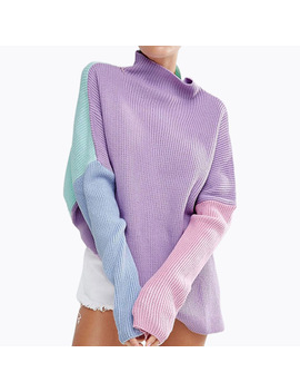 Oversized Rainbow Sweater Stitching Colors Loose Long Sleeve Women Pullover by Lunoakvo