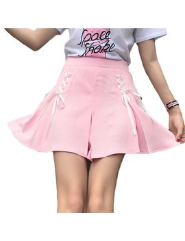 Japanese Soft Sister Small Fresh Lace Up Cross Bow Ribbon Skirts 2018 Women Casual School High Waisted Uniform Pleated Skirt by Fiodcrg