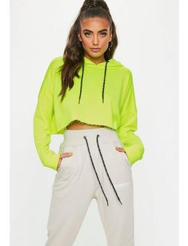 Neon Yellow Crop Hooded Sweatshirt by Missguided