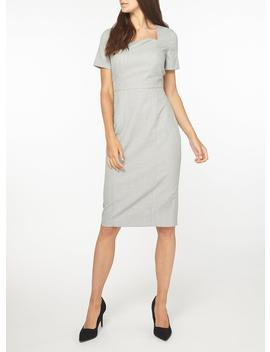 **Tall Grey Checked Textured Square Neck Pencil Dress by Dorothy Perkins