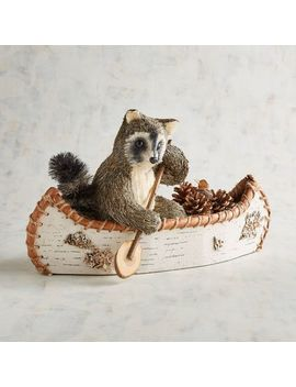 Scout The Raccoon In Canoe Natural Decor by Grateful Harvest Collection