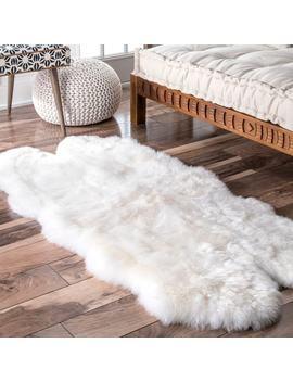 Nu Loom Alexa Quatro White Sheepskin Wool Four by Nuloom