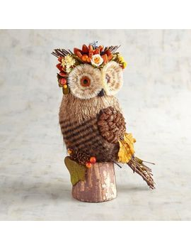 Carina The Natural Owl With Flower Garland by Grateful Harvest Collection