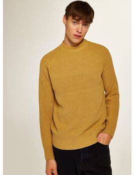 Mustard Ribbed High Neck Jumper by Topman