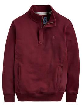 Joules Oakhurst Long Sleeve Quarter Zip Sweatshirt, Port by Joules