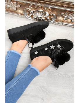 Black Faux Suede Pom Pom Trainers   Ellany by Rebellious Fashion