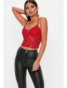 Red Sports Tape Lace Cami Top by Missguided