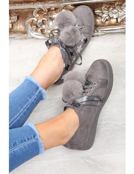 Grey Faux Suede Pom Pom Trainers   Ellany by Rebellious Fashion