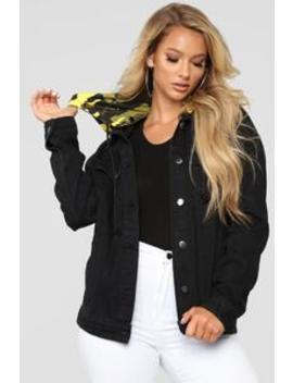 Camo Around Hooded Denim Jacket   Black/Yellow Camo by Fashion Nova