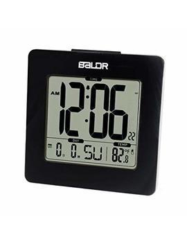 Baldr Digital Square Alarm Clock, Displays Time, Date, And Indoor Temperature, Blue Backlight (Black) by Baldr