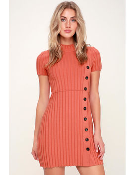 Lottie Coral Pink Ribbed Button Front Mock Neck Sweater Dress by Free People