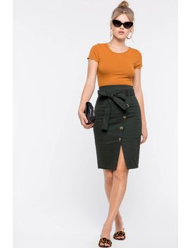 Tie Front Button Origami Midi Skirt by A'gaci