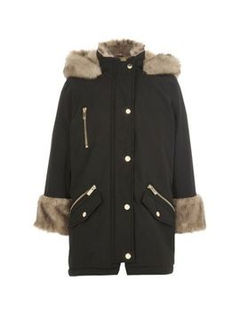 Girls Black Faux Fur Lined Parka by River Island