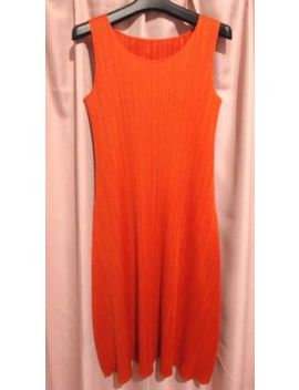 New Issey Miyake Pleats Please Dress Orange Size 4 Made In Japan Free Shipping by Issey Miyake