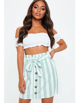 Green Paperbag Button Detail Skirt by Missguided