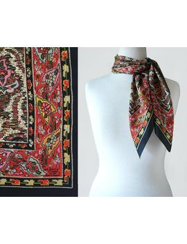 Vintage Liberty Of London Pure Silk Paisley Boho Floral Print Square Scarf / Signed Designer Scarf by Disco Beauty