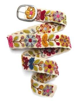 Embroidered Belt Floral Natural Organic Dyes White, Belt Natural Colour, Hand Embroidered Belts, Organic Belt, Floral Ethnic Belt by Meier Belts