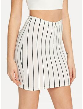 O Ring Zip Up Striped Bodycon Skirt by Shein