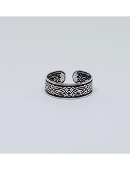 Patterned Sterling  Silver Toe Ring, Boho Ring, Adjustable Ring, Body Sterling Silver Jewelry by Silver Palace Th