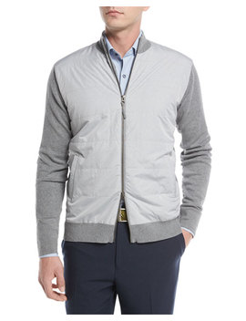 Patterson Full Zip Hybrid Melange Cardigan, Dark Gray by Peter Millar