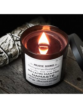 Gayatri Mantra Namaste Meditation Black Scented Wood Wick Candle by The Holistic Science Co