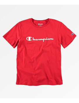 Champion Boys Heritage Scarlet Red T Shirt by Champion
