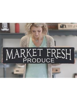 Market Fresh Produce Rustic Home Decor Wood Sign | Kitchen Signs | Farm Fresh Bakery Sign | Farmhouse Style Sign | Mom Gift | Matte Black by Love Built Shop