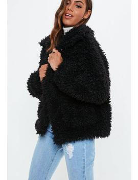 Black Boxy Shaggy Teddy Jacket by Missguided