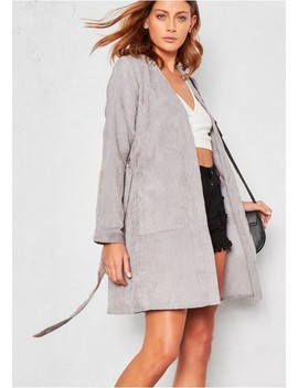 Cadee Grey Cord Belted Jacket by Missy Empire
