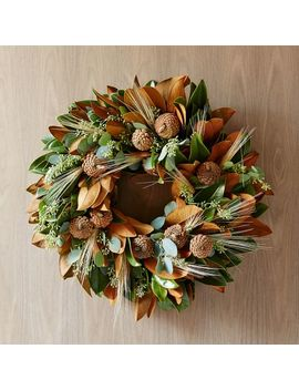 "Magnolia Wheat Wreath, 22"" by West Elm"