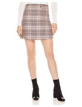 Power Plaid Toggle Mini Skirt by Sandro