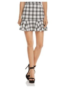 Flounce Hem Plaid Skirt   100 Percents Exclusive by Aqua