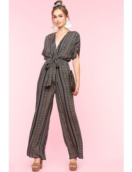Tribal Print Tie Front Jumpsuit by A'gaci
