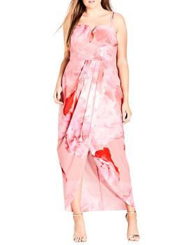 Girly Rose Strapless Maxi Dress by City Chic